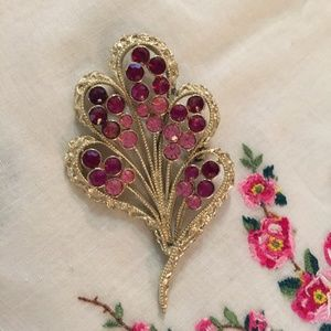 Vintage Coro pin with purple and pink stones